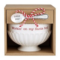 """5"""" Round Santa Bod Pedestal Ceramic Candy Bowl With Serving Spoon by Mud Pie"""