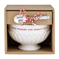 """5"""" Round Candy Coal Pedestal Ceramic Candy Bowl With Serving Spoon by Mud Pie"""