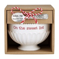 """5"""" Round Sweet List Pedestal Ceramic Candy Bowl With Serving Spoon by Mud Pie"""