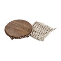 """8"""" Round Brown Beaded Mango Wood Trivet With Crocheted Pot Holder by Mud Pie"""