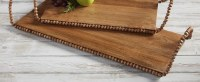 """9"""" x 23"""" Brown Mango Wood Tray With Beaded Trim and Handles by Mud Pie"""
