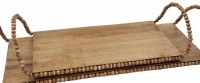 """9"""" x 16"""" Brown Mango Wood Tray With Beaded Trim and Handles by Mud Pie"""