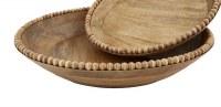 """18"""" Round Brown Beaded Mango Wood Serving Bowl by Mud Pie"""