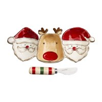 """11"""" Santa and Reindeer Triple Compartment Dish With Spreader by Mud Pie"""