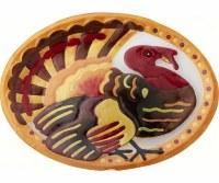"14"" Oval Multicolor Glass Turkey Serving Platter"