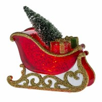 """4"""" LED Mini Red Shimmer Sleigh With Tree and Gifts"""