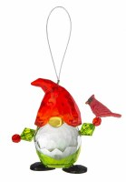 """3"""" Red and Green Acrylic Gnome With a Cardinal Ornament"""