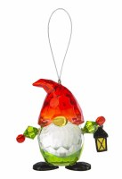 """3"""" Red and Green Acrylic Gnome Holding a Lantern Ornament"""