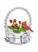 "3"" Cardinal Basket Acrylic Ornament"