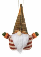 """6"""" Red and White Striped Green Plaid Hat Fall Gnome Ornament"""