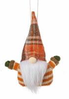 """6"""" Orange and White Striped Orange Plaid Hat Fall Gnome Ornament"""