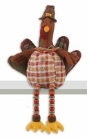 "18"" Orange Plaid Shelf Sitter Turkey With Beaded Legs"