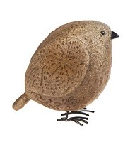 "4"" Brown Polyresin Plump Pebble Bird"