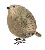 """4"""" Gray Polyresin Plump Pebble Bird"""