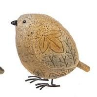 """4"""" Orange Polyresin Plump Pebble Bird"""