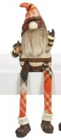 """7"""" Orange and Brown Fall Shelf Sitter Gnome Holding an Acorn"""
