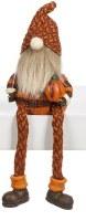 """7"""" Orange Fall Shelf Sitter Gnome Holding a Pumpkin"""