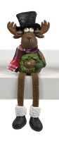 """8"""" Polyresin Holiday Shelf Sitter Moose Holding a Wreath"""