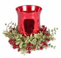 """6"""" Red Glass Tea Light Hurricane With Faux Red Berry Mistletoe"""