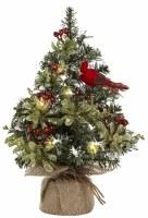 "12"" LED Cardinal Christmas Tree in Burlap Sack"