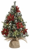 "16"" LED Poinsettia Christmas Tree in Burlap Sack"