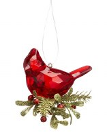 "3"" Cardinal With Pine Nest Acrylic Ornament"