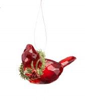 """3"""" Cardinal With Wreath Acrylic Ornament"""