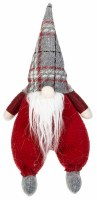 """11"""" Red and Gray Plaid Sitting Chunky Gnome"""