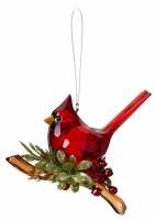 "5"" Cardinal on Branch Acrylic Ornament"