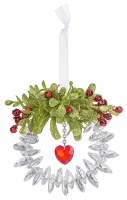 "4"" Round Mistletoe Acrylic Love Wreath Ornament"