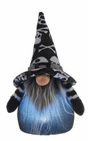 """7"""" Blue LED Gnome With Black and White Skull Hat"""