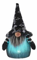 """7"""" Teal LED Gnome With Black and White X Hat"""