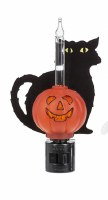 "5"" Black Cat and Pumpkin Bubbling Night Light"
