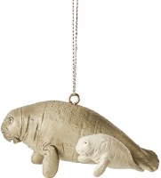 """3"""" Manatee With Baby Polyresin Ornament"""
