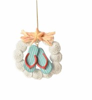 "4"" Flip Flops and Sand Dollars Wreath Polyresin Ornament"