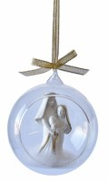 """4"""" White Polyresin Holy Family in Glass Orb With Gold Ribbon Hanger Ornament"""