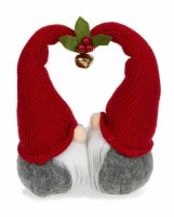 """8"""" Red and Gray Kissing Gnome Couple With Heart Shaped Hats"""