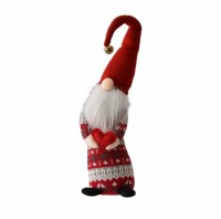 """23"""" Red and White Sweater Tall Skinny Gnome Carrying a Heart"""