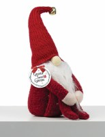 """12"""" Red Knit Hat Shelf Sitter Gnome With Arms Around Knees"""