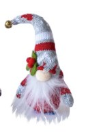 """6"""" Red and Gray Striped Holly Gnome Magnet"""