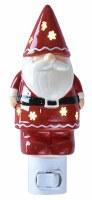 "6"" Red and White Ceramic Santa Gnome With Cutout Stars Night Light"