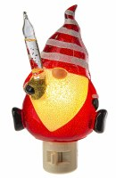 """5"""" Red and White Glass Gnome Bubble Night Light"""