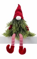 """12"""" Red and White Striped Pine Beard Shelf Sitter Gnome"""