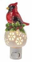 "6"" Red Ceramic Winter Cardinal and Holly Night Light"
