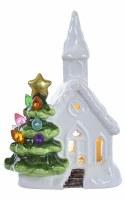 "5"" White Ceramic LED Church and Multicolor Light Tree"