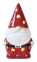 """4"""" Red Ceramic Gnome With LED Gold Stars"""