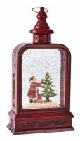 "12"" Red LED Santa Tree Decorating Glitter Lantern With Music"
