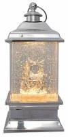"""9"""" Silver LED Gold Glitter Deer Lantern"""