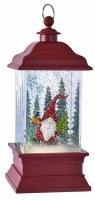 "11"" Red LED Santa Gnome Glitter Lantern"