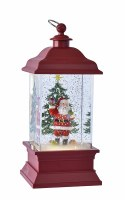 """11"""" Red LED Santa With Gifts Glitter Lantern"""